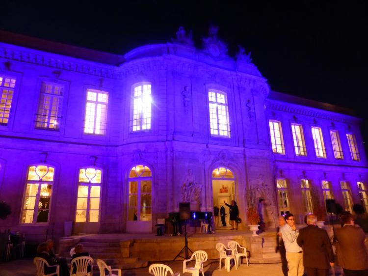 Le château mis en lumière, version mauve