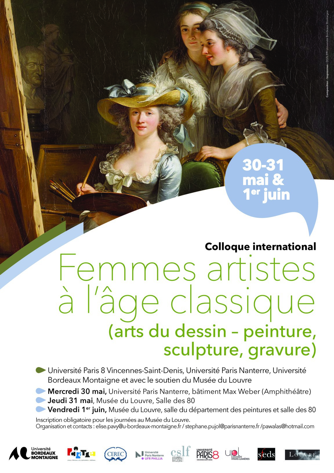 Affiche colloque Femmes artistes, Nanterre-Louvre, 30 mai-1er juin 2018