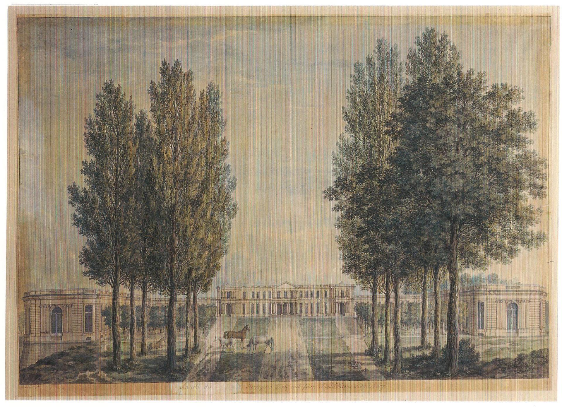 Philipp Adolf Leclerc, Le chateau de Jägersburg du côté de l'allée centrale, 1786, Spire