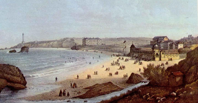 Vue de Biarritz depuis l'Atalaye, milieu XIXe siècle