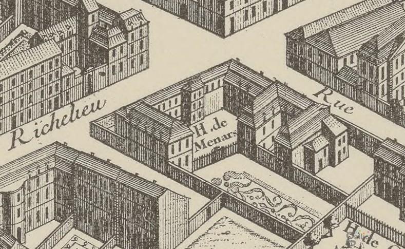 Hôtel Boutin, rue de Richelieu (ex-hôtel de Ménars), plan Turgot, 1739