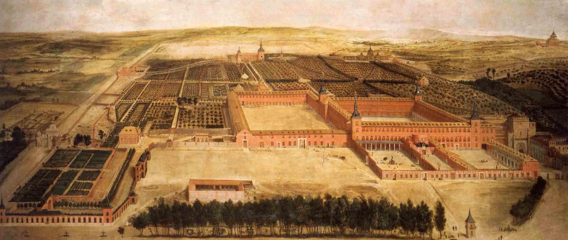 Jusepe Leonardo de Chavacier : Vue cavalière du Buen Retiro,  1637 (Madrid, Palais royal)