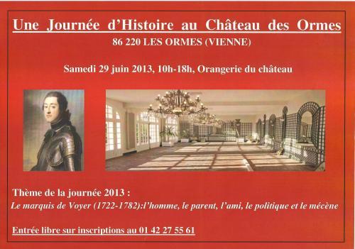 Journée d'histoire du château des Ormes 2013 (flyer Ph. Cachau)
