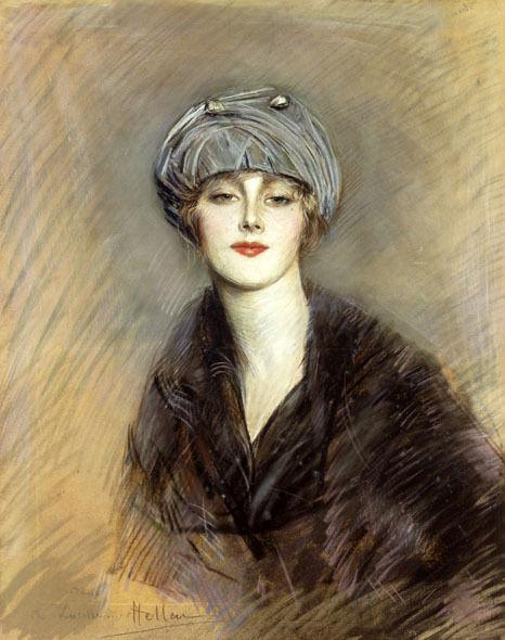 Paul-César Helleu : Portrait de femme, pastel