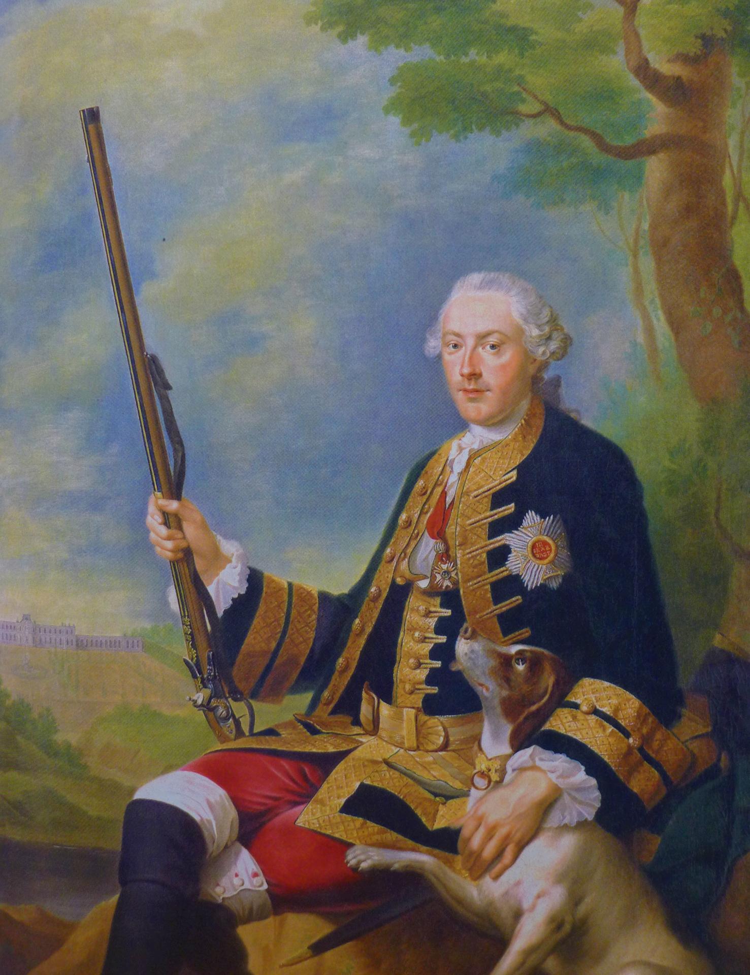 Johann George Ziesenis, Christian IV en chasseur, 1757, Darmstadt