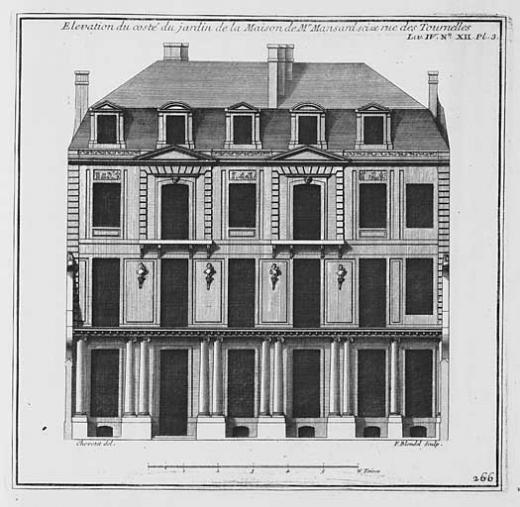 Hôtel de Sagonne, rue des Tournelles, Paris, façade sur jardin