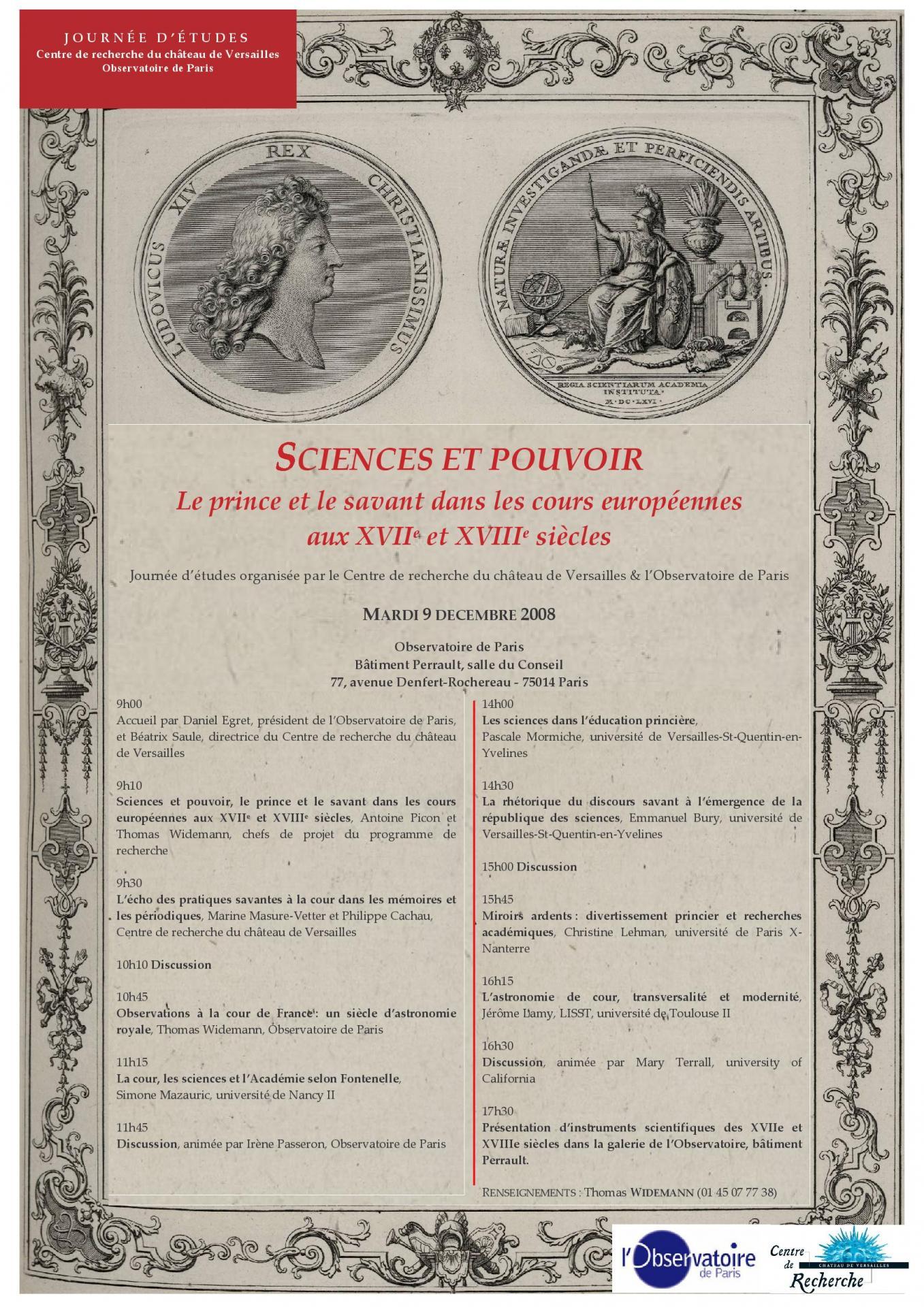 Journée d'études, Observatoire de Paris, 9 décembre 2008