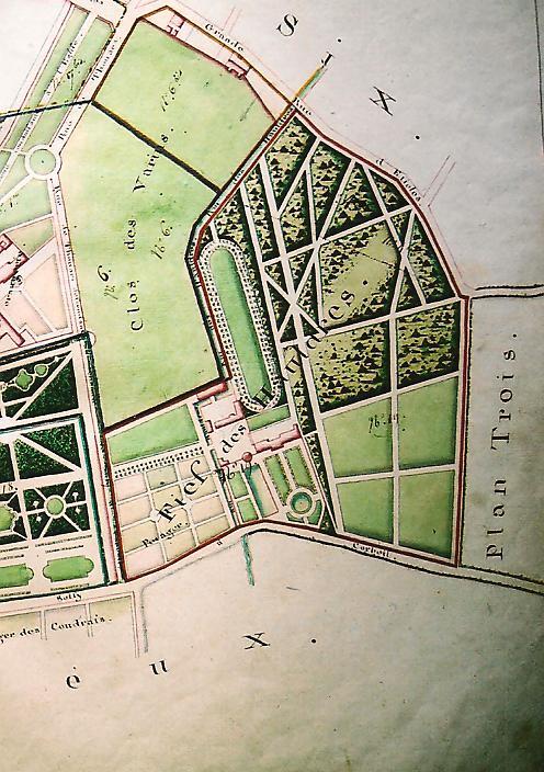 Le domaine des Hauldres (détail du plan terrier d'Etiolles, fin XVIIIe, Archives municipales, cl. Ph. Cachau).