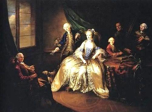 Johann Christian von Manlich, Marie-Anne Camasse, comtesse de Forbach et ses enfants, vers 1776