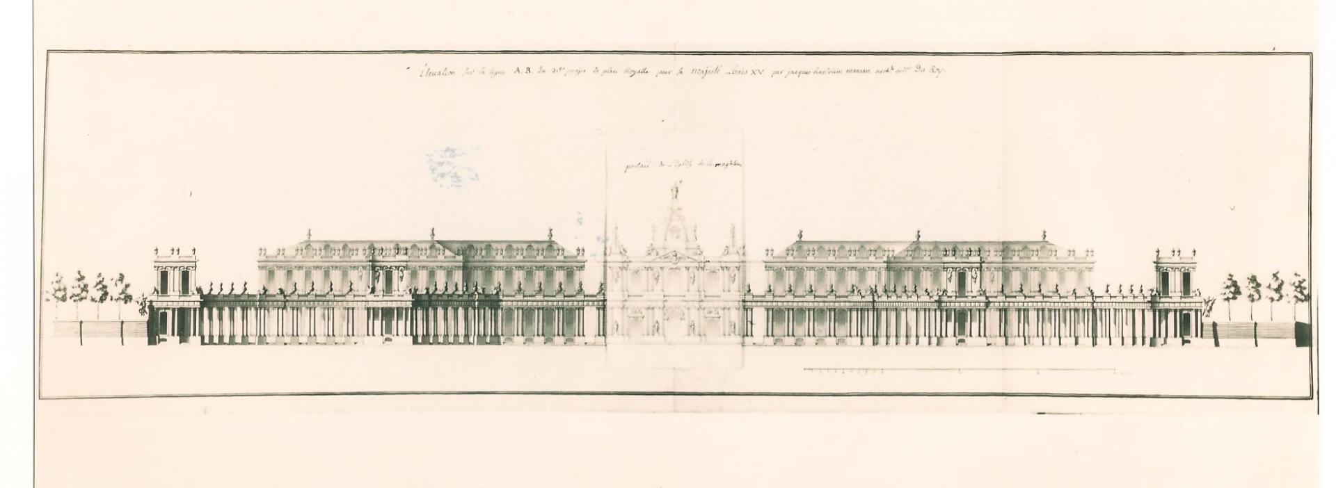 Mansart de Sagonne, projet pour la place Louis XV de Paris, 1752