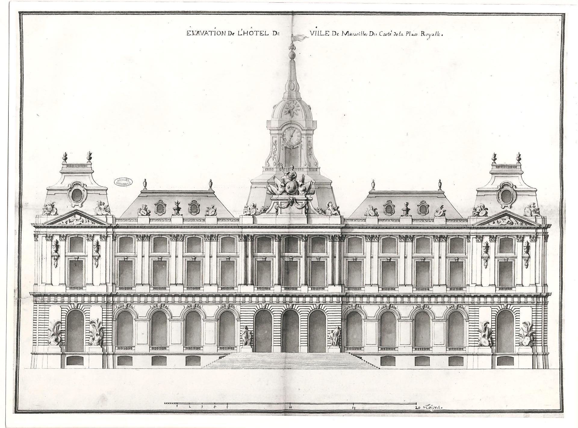 Jacques Hardouin-Mansart de Sagonne (de Lévy), projet définitif pour l''hôtel de ville de Marseille, 1752, Archives nationales