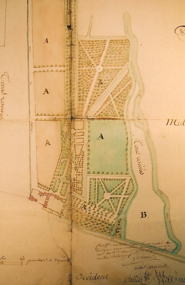 Le domaine de Montauger au XVIIIe siècle (Archives nationales, cl. Ph. Cachau, 2004).